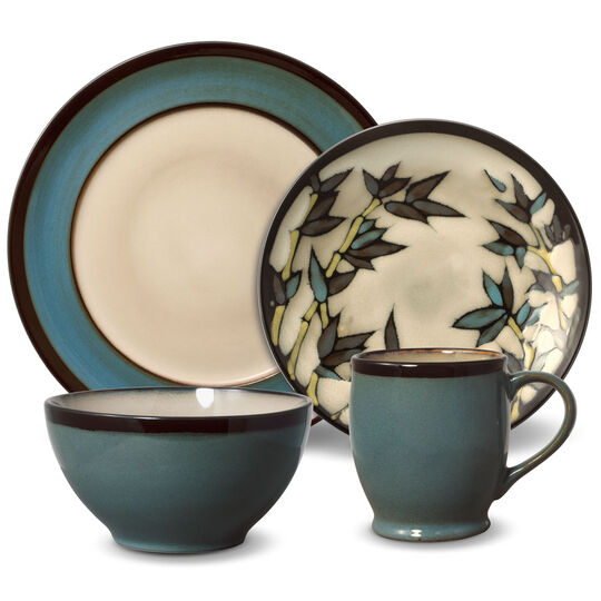 Round Blue Stalks 48 Piece Dinnerware Set