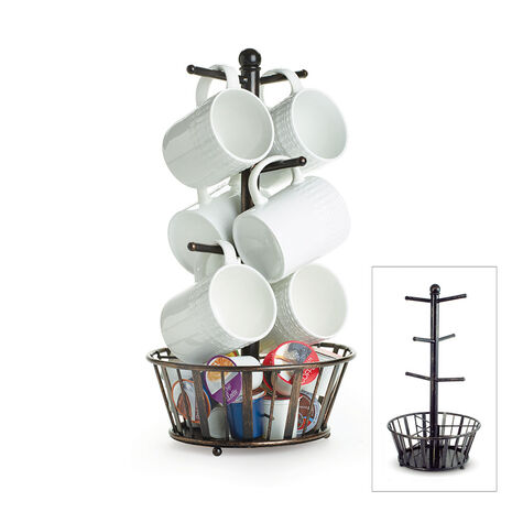 Mug Tree Stand with Basket