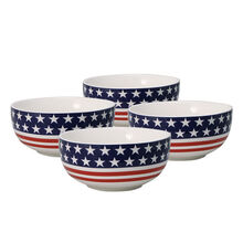 Set of 4 American Flag Soup Cereal Bowls