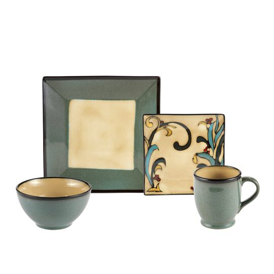Square Blue Leaves 16 Piece Dinnerware Set, Service for 4