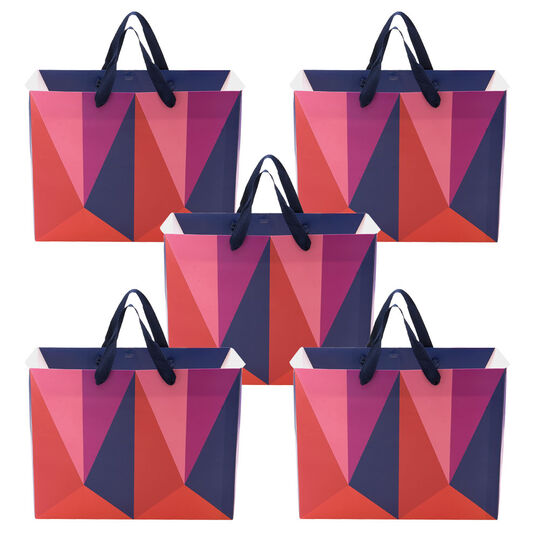 Set of 5 Lush Color Block Medium Origami Geo Gift Bags