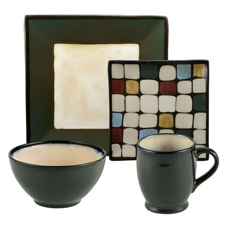 Square Green Dots 16 Piece Dinnerware Set, Service for 4