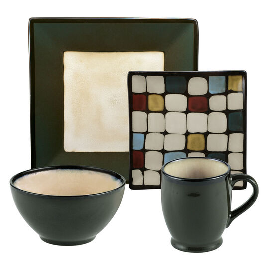 Square Green Dots 48 Piece Dinnerware Set