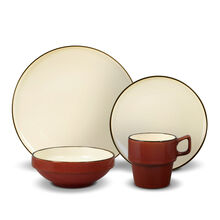 Red Stackable 16 Piece Dinnerware Set