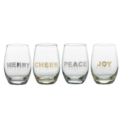 Confetti Set of 4 Stemless Wine Glasses