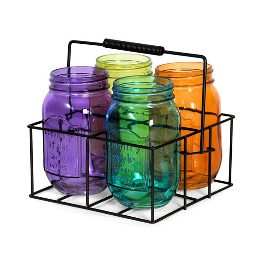 Set of 4 Assorted Color Mason Jar Tealight Holders in Metal Caddy
