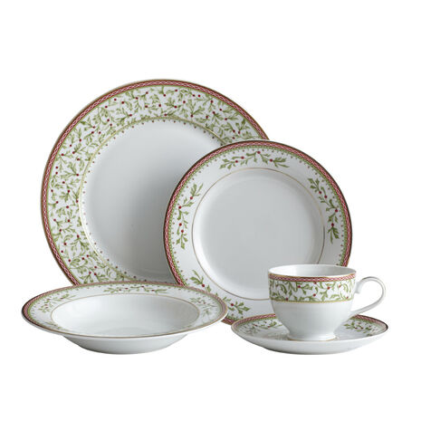 40 Piece Dinnerware Set with Rim Soup Bowl
