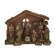 9 Piece Ceramic Nativity Set With Crech