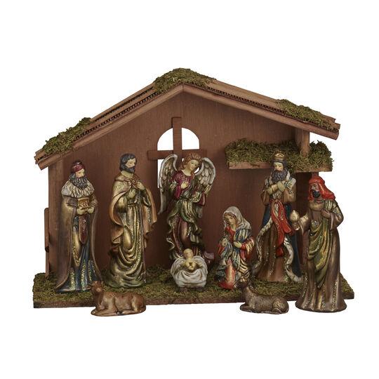 9 Piece Ceramic Nativity Set With Crech