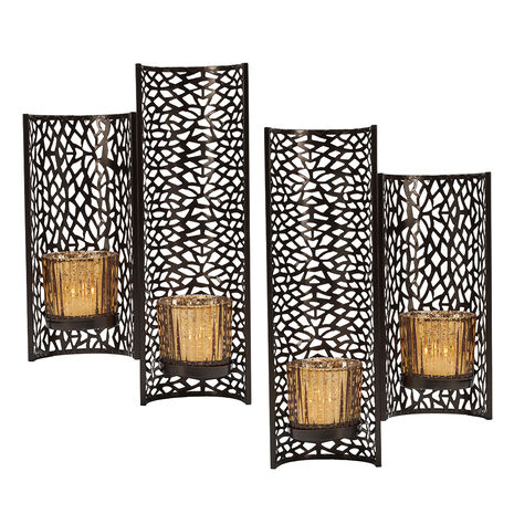 Set of 2 Laser Cut Brown Wall Sconces
