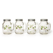 Set of 4 Glass Mason Jars With Lids