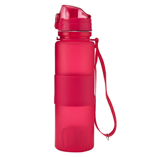 Pink Silicone Water Bottle With Flip Top Lid And Nylon Strap