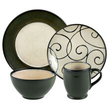 Round Green Scroll 16 Piece Dinnerware Set
