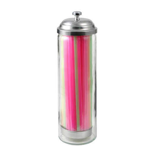 Glass Junior Straw Dispenser with Straws
