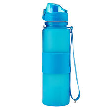 Blue Silicone Water Bottle with Flip Top Lid and Nylon Strap