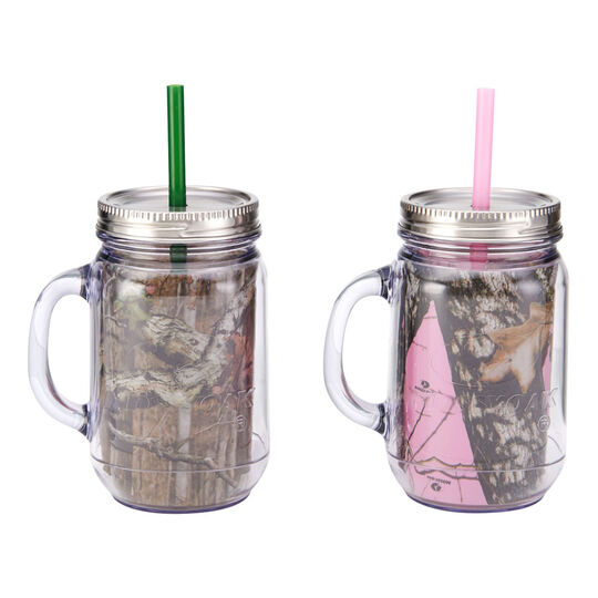Set of 2 Double Wall Mason Jar With Metal Lid and Straw