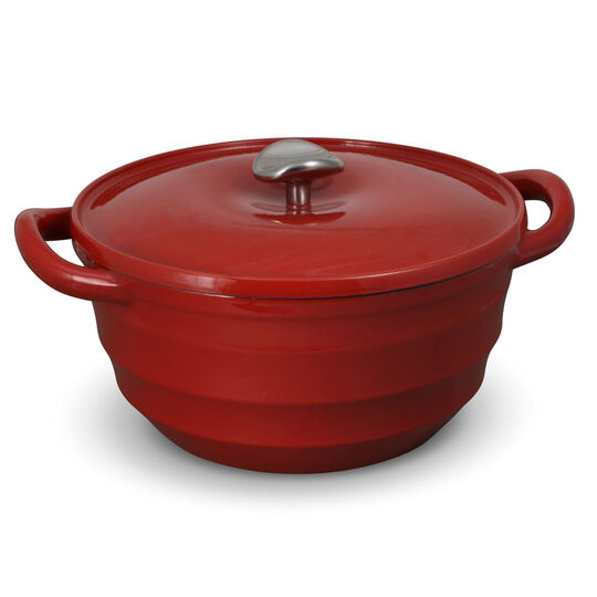 5.5 Quart Red Cast Iron Dutch Oven