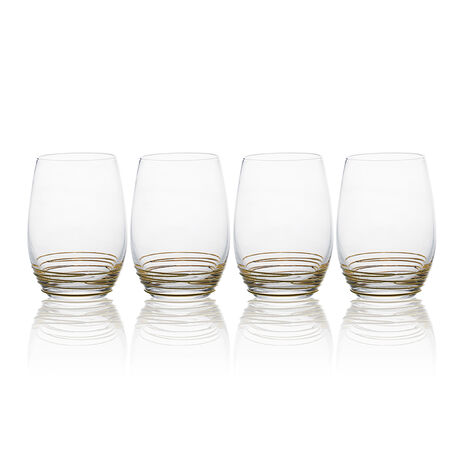 Gold Set of 4 Stemless Wine Glasses