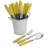 International® Silver 18 Piece Yellow Flatware With Pail Caddy