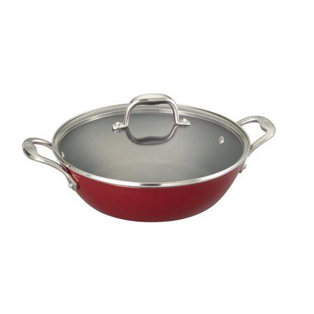 5 Quart Light Weight Cast Iron Braiser Pan, Red