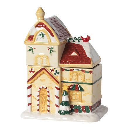 WINTERBERRY House Shaped Cookie Jar