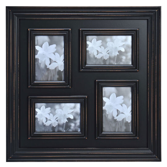 4 Opening Distressed Black Collage Frame