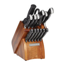 15 Piece Wooden Block Cutlery Set
