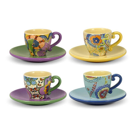 Set of 4 Espresso Cups N Saucers