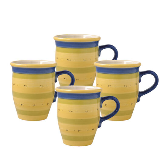 Set of 4 Coffee Mugs with Blue Handle