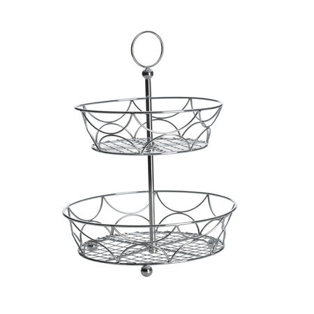 Two Tier Chrome Plated Countertop Basket