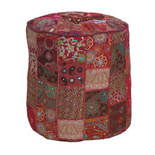 16 Inch Round Red Patchwork Pouf