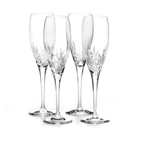 Set of 4 Crystal Champagne Flute Glasses