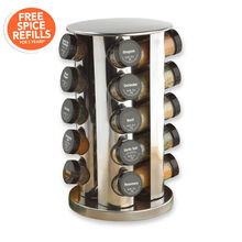 20 Jar Filled Revolving Stainless Steel Spice Rack