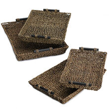 Set of 4 Seagrass Brown Nesting Trays