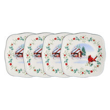 Set of 4 Square Cardinal Salad Plates