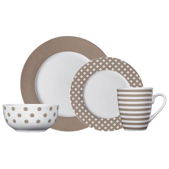 Taupe 16 Piece Dinnerware Set