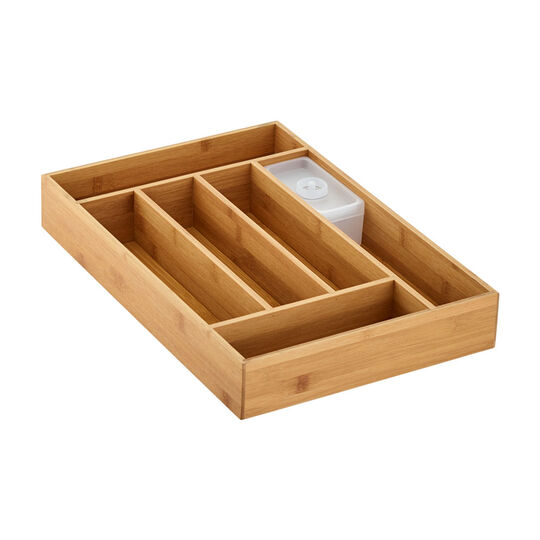 2 Piece Bamboo Flatware Drawer Organizer Set
