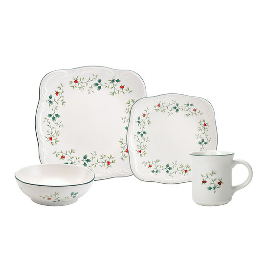 64 Piece Square Dinnerware Set, Service for 16