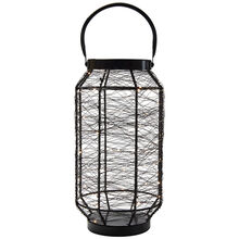 16 Inch Black LED String Light Lantern