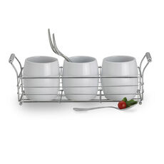 Ceramic Flatware Caddy Set With Stand