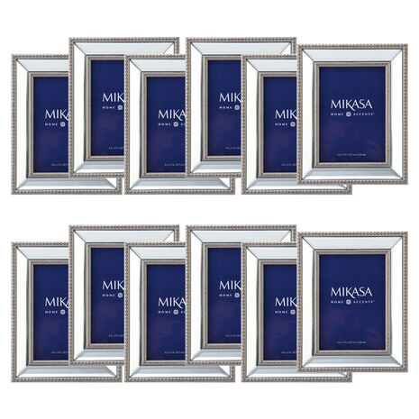 Set of 12 5 x 7 Beaded Champagne Mirror Frames