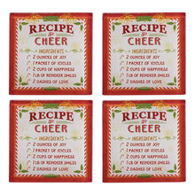 Set of 4 Holiday Glass Coasters