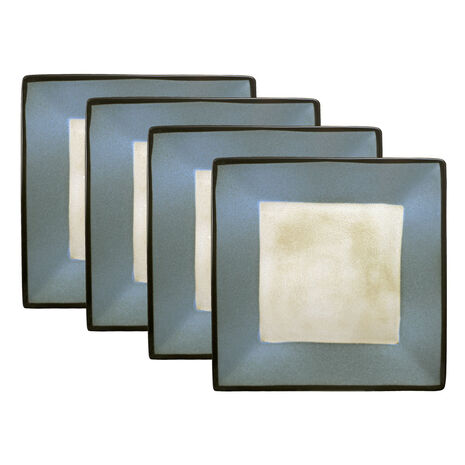 Set of 4 Blue Square Dinner Plates