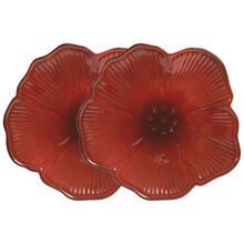 Set of 2 Red Floral Figural Platter