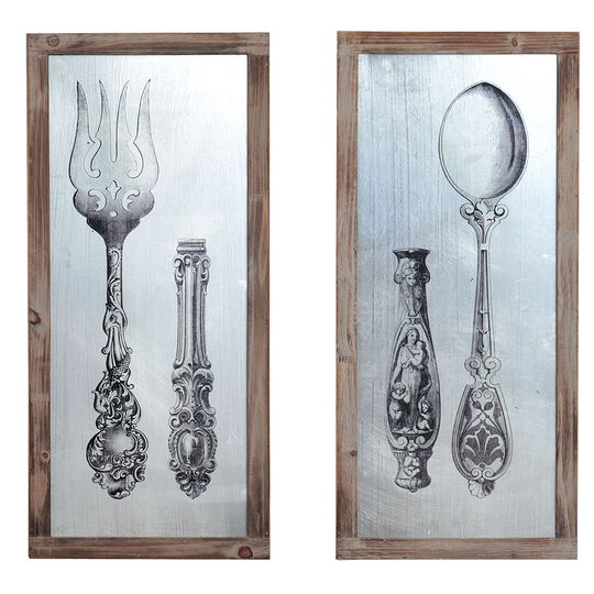 Set of 2 Antique Fork And Spoon Wall Plaques