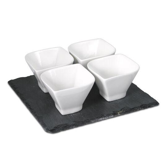 Leaf Bowl Set with Slate Tray