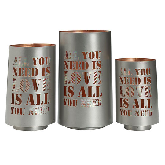 Set of 3 All You Need Is Love Metal Luminaries