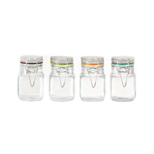 Set of 4 Glass 3 Ounce Jars with Clamp Lid