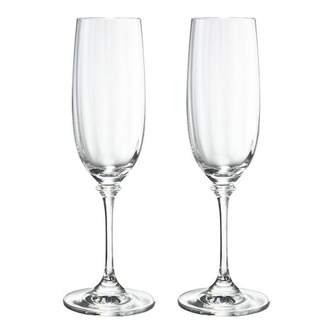 Fluted Champagne Glasses, Set of 2