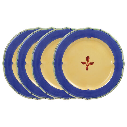 Set of 4 Dinner Plates with Blue Band